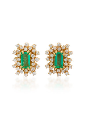 Suzanne Kalan One-of-a-Kind 18K Yellow Gold Emerald and Diamond Earrings