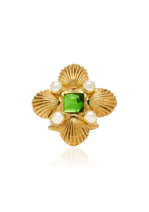 Gripoix Byzantine Shell 24K Gold-Plated Brass Adjustable Ring