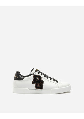 Dolce & Gabbana Sneakers and Slip-On - PORTOFINO SNEAKERS IN NAPPA CALFSKIN WITH PATCHES WHITE