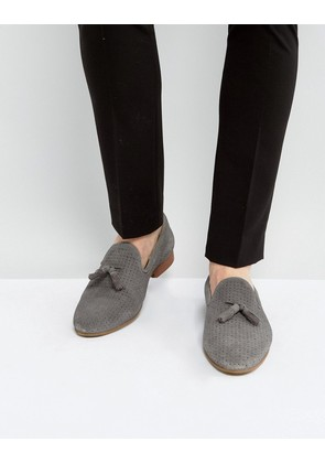 ASOS Loafers In Grey Suede With Perforated Detail - Grey