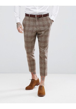ASOS Wedding Tapered Suit Trousers In Camel Wool Mix Tartan Check - Camel