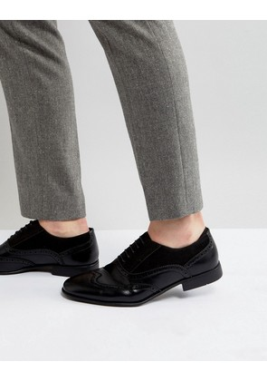 ASOS Brogue Shoes In Black Faux Leather And Faux Suede Detail - Black