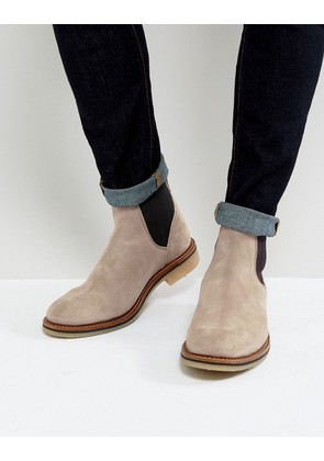 ASOS Chelsea Boots in Grey Suede With Natural Sole - Grey