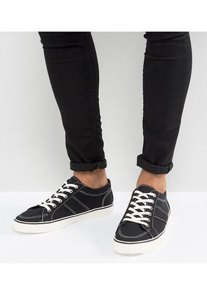 ASOS Wide Fit Trainers In Black Canvas - Black
