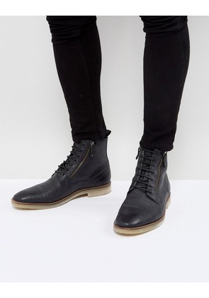 ASOS Lace Up Boots In Black Suede With Zip Detail And Natural Sole - Black