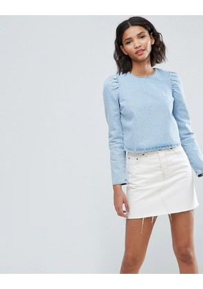 ASOS Denim Top in Midwash Blue With Exaggerated Shoulder - Blue