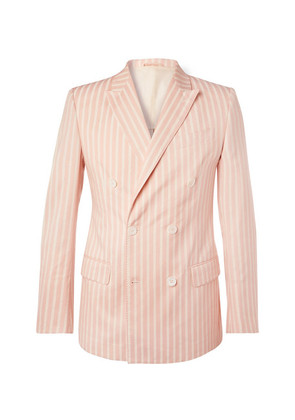 Connolly - Pink Slim-fit Double-breasted Striped Cotton Blazer - Pink