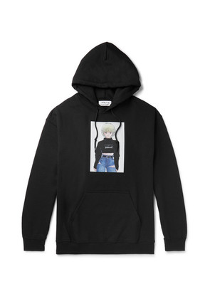 Printed Fleece-back Cotton-blend Jersey Hoodie