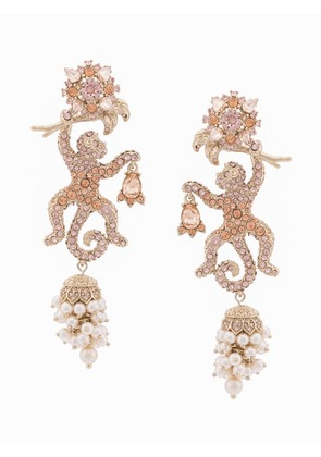 Marchesa Notte jewel encrusted lizard earrings - Metallic