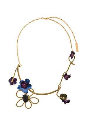 Marni floral embellished necklace - Metallic