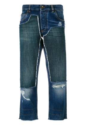 Dolce & Gabbana cropped patch jeans - Blue