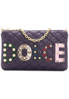 Dolce & Gabbana mini quilted shoulder bag with patch appliqués - Pink