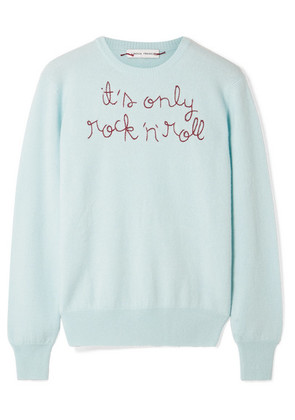 Lingua Franca - It's Only Rock 'n' Roll Embroidered Cashmere Sweater - Mint