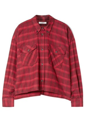 Isabel Marant Étoile - Delora Cropped Checked Cotton-flannel Shirt - Red