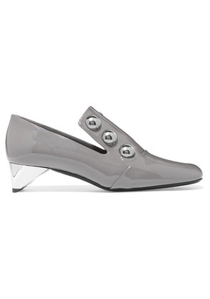 Burberry - Studded Patent-leather Pumps - Gray