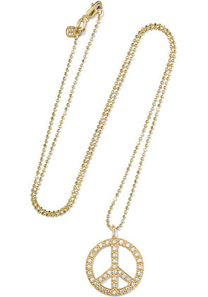 Sydney Evan - Peace Sign Large 14-karat Gold Diamond Necklace - one size