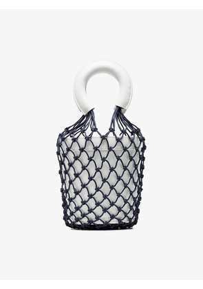 Staud White and Blue Moreau Macrame Leather Bucket Bag