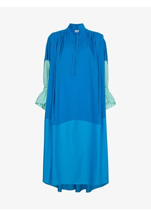 Vika Gazinskaya Blue Ruched Sleeve Dress