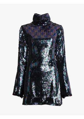 Halpern Mini Fitted Sequin Dress