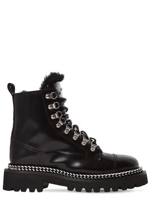 30MM LEATHER & SHEARLING ARMY BOOTS