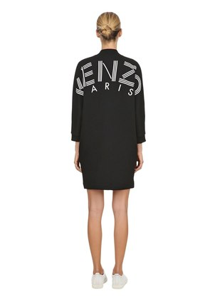 RUBBER LOGO PRINTED COTTON JERSEY DRESS