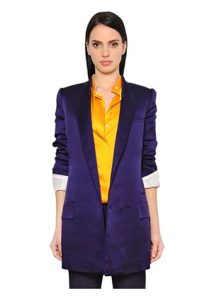 DOUBLE BREASTED TECHNO SATIN BLAZER