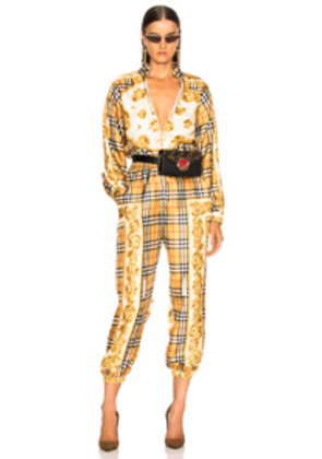 Burberry Check Jumpsuit in Yellow,Plaid,Floral,Neutral