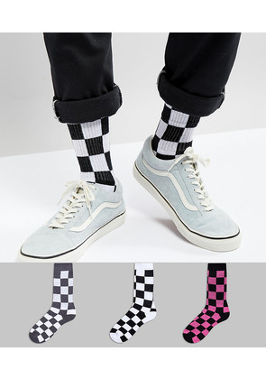 ASOS Sports Socks With Checkerboard Design 3 Pack - Multi