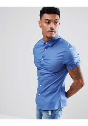 ASOS DESIGN Skinny Shirt In Blue With Short Sleeves - Blue