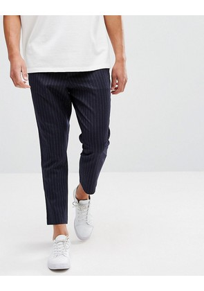 ASOS Tapered Trousers With Elasticated Back In Navy Pin Stripe - Navy