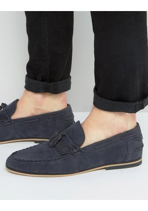 ASOS Tassel Loafers In Navy Faux Suede With Fringe - Navy
