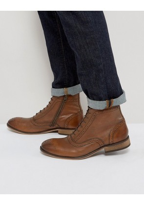 ASOS Lace Up Brogue Boots In Tan Leather With Zips - Tan