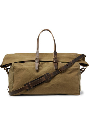 Bleu de Chauffe - Cabine Leather-trimmed Stonewashed Cotton-canvas Holdall - Army green