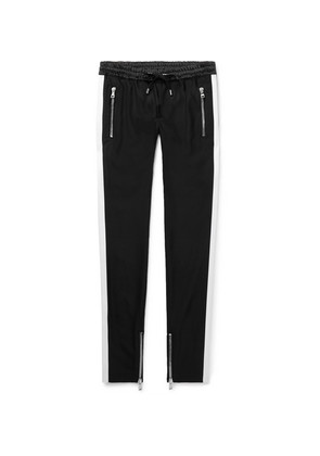 Skinny-fit Striped Satin-trimmed Stretch-wool Drawstring Trousers