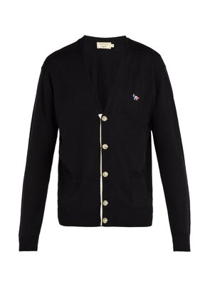Logo-embroidered wool cardigan