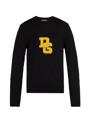 Logo-appliqué crew-neck wool sweater