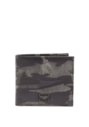 Camouflage-print bi-fold leather wallet