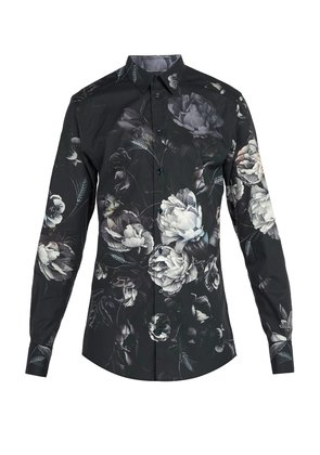 Floral-print cotton shirt