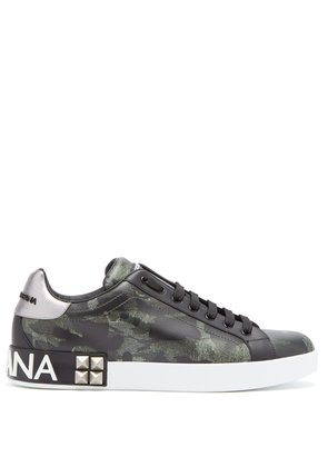 Camouflage-print low-top leather trainers