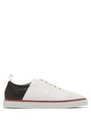 Straight striped-leather low-top trainers