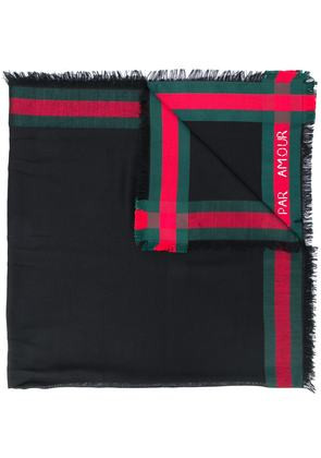 Gucci Web trim shawl - Black
