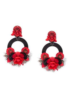 Ranjana Khan oversized floral earrings - Red