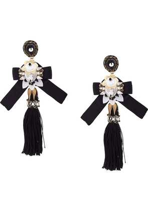 Ranjana Khan oversized tassel earrings - Black