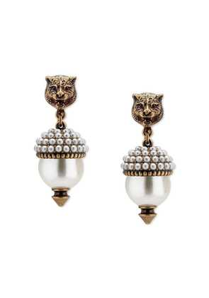 Gucci Feline earrings with resin pearls - Metallic