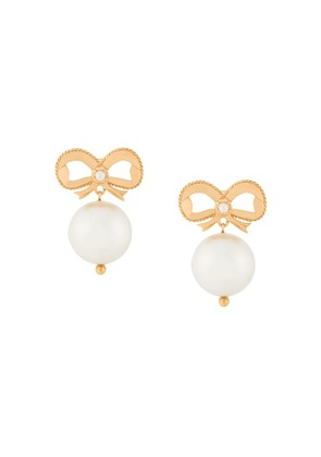 Simone Rocha bow pearl drop earrings - Metallic