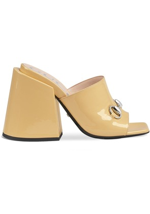 Gucci Patent leather high-heel slides - Nude & Neutrals