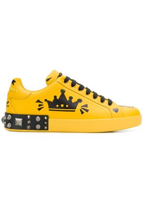 Dolce & Gabbana printed studded sneakers - Yellow & Orange