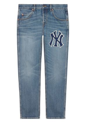 Gucci Tapered Yankees Logo Jeans - Blue