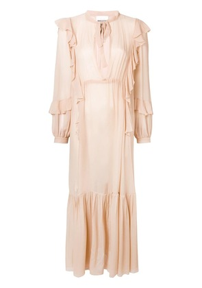 Semicouture Florence ruffle long dress - Nude & Neutrals