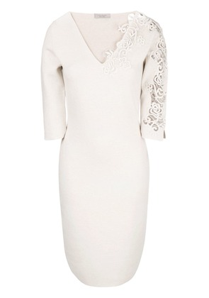 D.Exterior floral embroidered dress - Nude & Neutrals